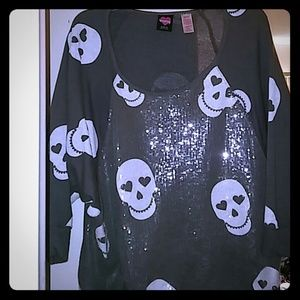 Used plus size Sequin skull sweater